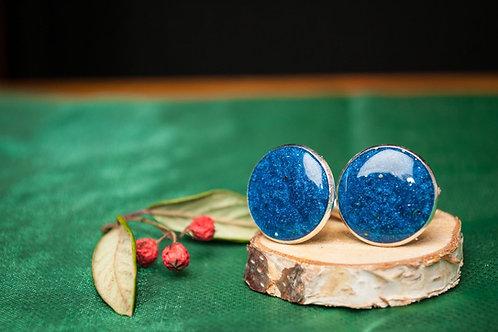 Blue Cufflinks and Keyring set