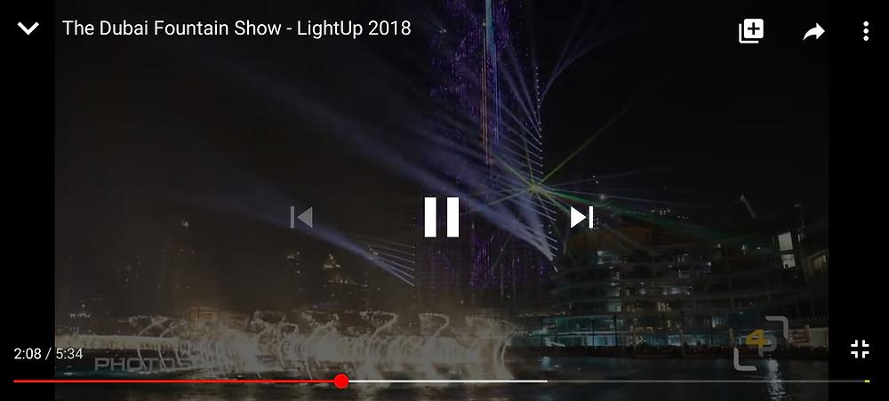 The Dubai Fountain Show at night