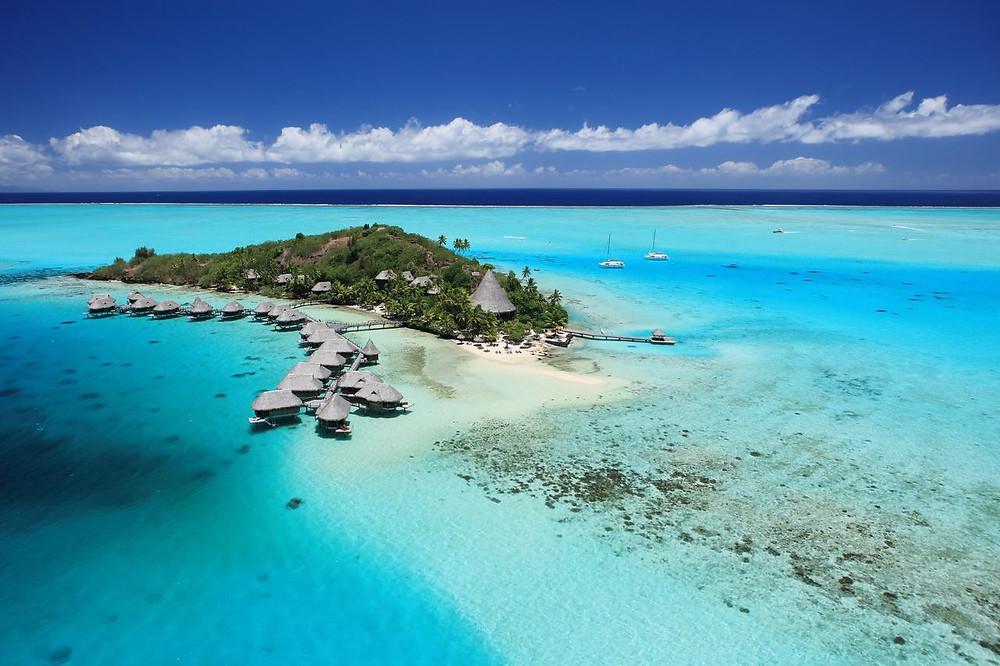 Bora Bora is a small island northwest of Tahiti in French Polynesia