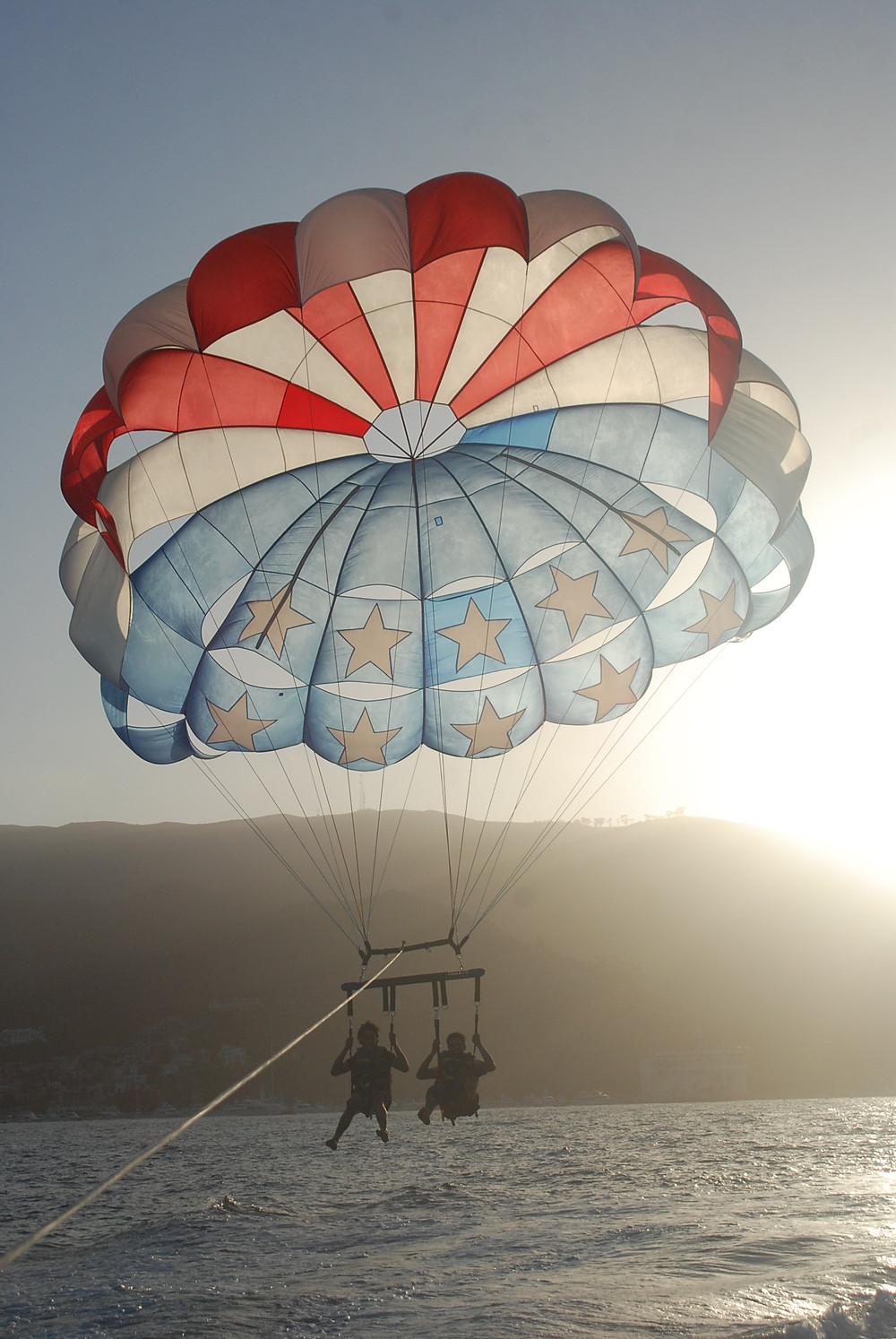Parasailing in Catalina Island, California USA during summer weather