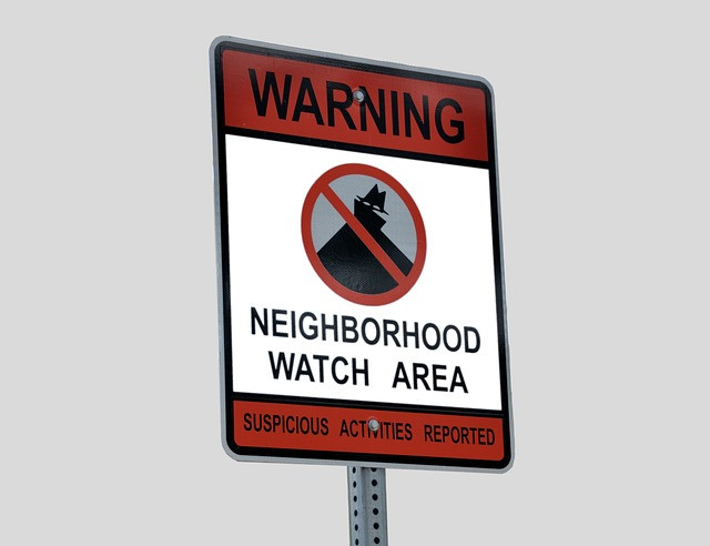 Crime prevention Neighborhood Watch Area sign.