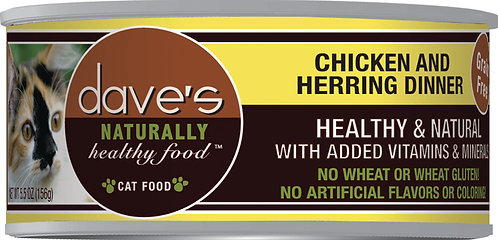 Dave's Naturally Healthy Grain Free Canned Cat Food Chicken & Herring Dinner