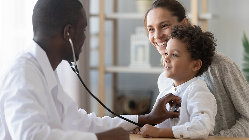 African male pediatrician hold stethosco