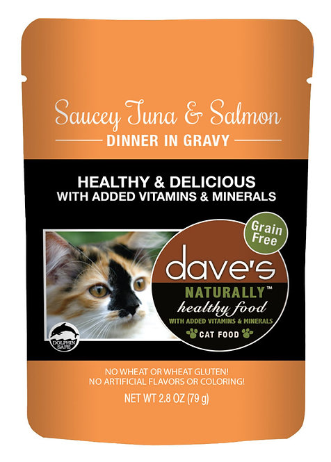 Dave's Naturally Healthy Cat Food Pouch – Saucey Tuna & Salmon Dinner in Gravy