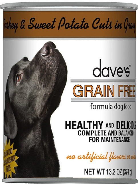 Dave's Grain Free Turkey & Sweet Potato Cuts in Gravy Canned Dog Food