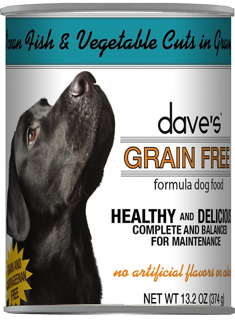 Dave's Grain Free Ocean Fish & Vegetables Cuts in Gravy Canned Dog Food