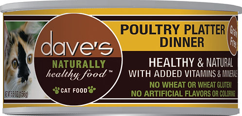 Dave's Naturally Healthy Grain Free Canned Cat Food Poultry Platter Dinner