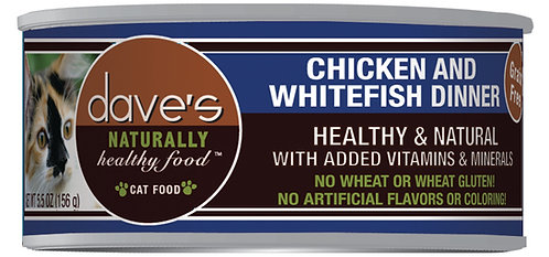 Dave's Naturally Healthy Grain Free Canned Cat Food Chicken & Whitefish Dinner