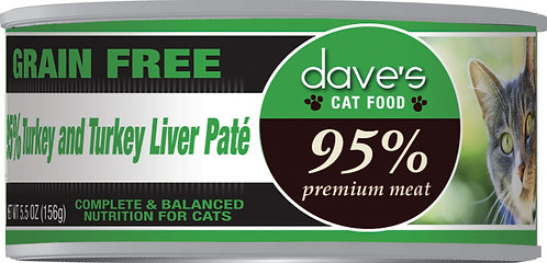Dave's 95% Premium Meat – Turkey & Turkey Liver Paté Canned Cat Food