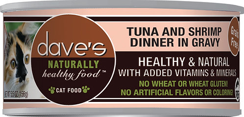 Dave's Naturally Healthy Grain Free Can Cat Food Tuna & Shrimp Dinner In Gravy