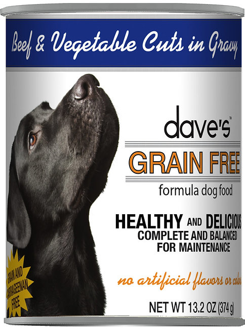 Dave's Grain Free Beef & Vegetable Cuts in Gravy Canned Dog Food