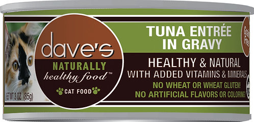Dave's Naturally Healthy Grain Free Canned Cat Food Tuna Entrée in Gravy