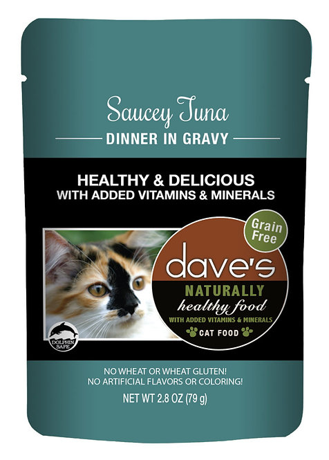 Dave's Naturally Healthy Cat Food Pouch – Saucey Tuna Dinner in Gravy