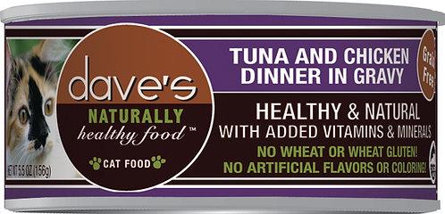 Dave's Naturally Healthy Grain Free Cat Food Tuna & Chicken Dinner in Gravy