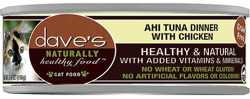 Dave's Naturally Healthy Grain Free Canned Cat Food Ahi Tuna & Chicken Dinner