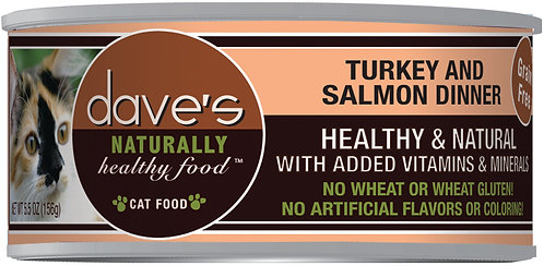 Dave's Naturally Healthy Grain Free Canned Cat Food Turkey & Salmon Dinner
