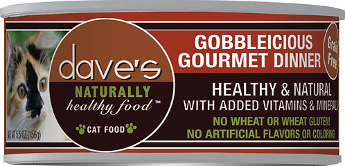 Dave's Naturally Healthy Grain Free Canned Cat Food Gobbleicious Gourmet Dinner
