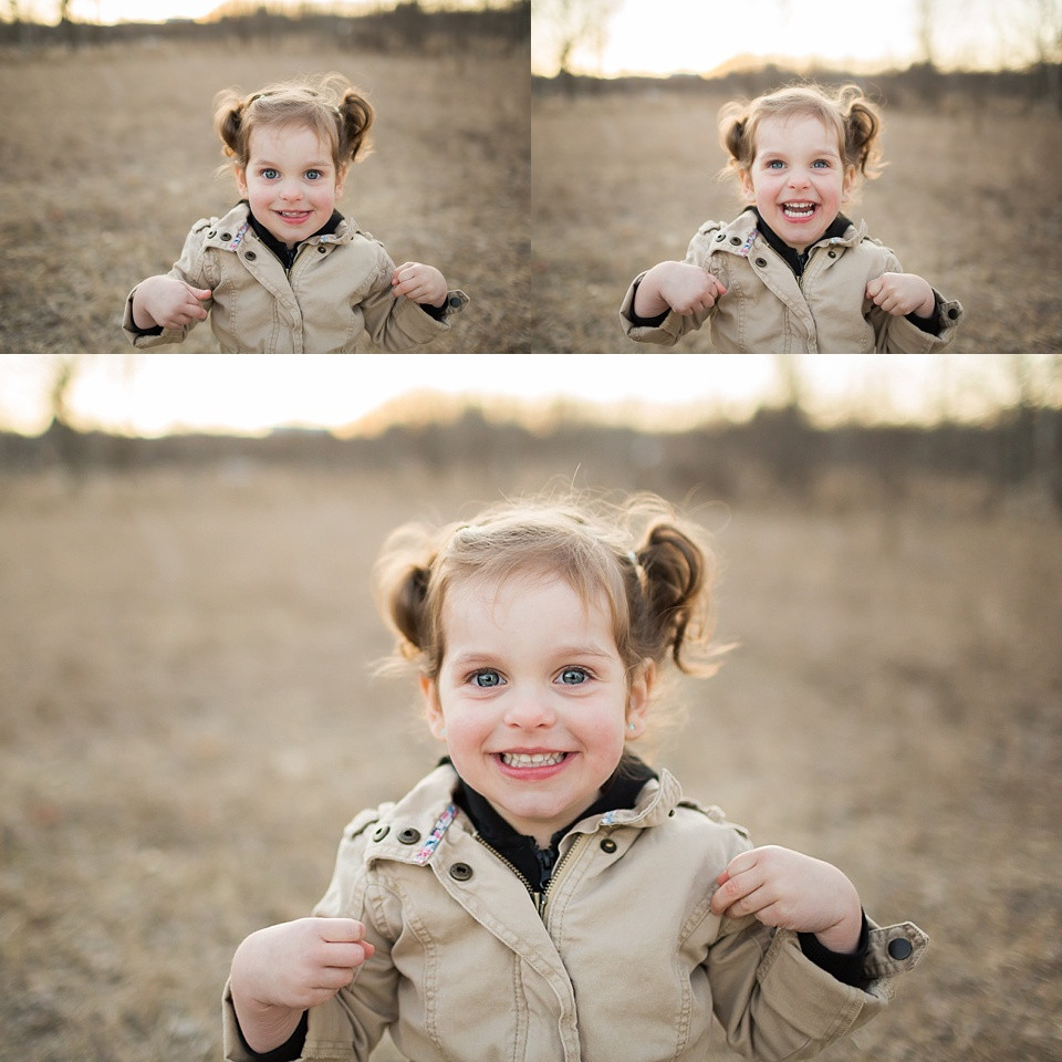 collage of smiling portraits of toddler girl
