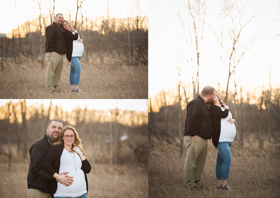 Collage of couple standing in field