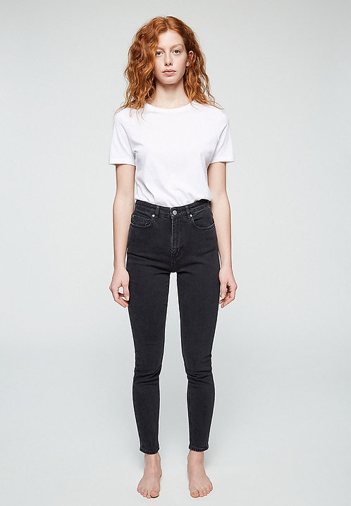 Jeans INGAA washed down black - High Waist Skinny Fit aus Bio-Denim