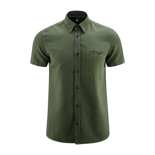 Kurzarmhemd GEORGE OLIVE aus Leinen und Bio-Baumwolle