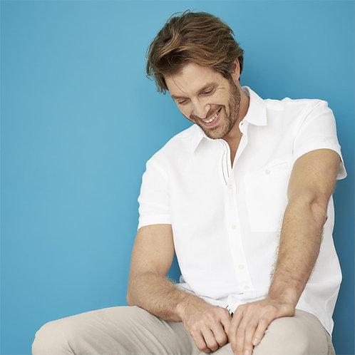 Kurzarmhemd GEORGE WHITE aus Leinen und Bio-Baumwolle