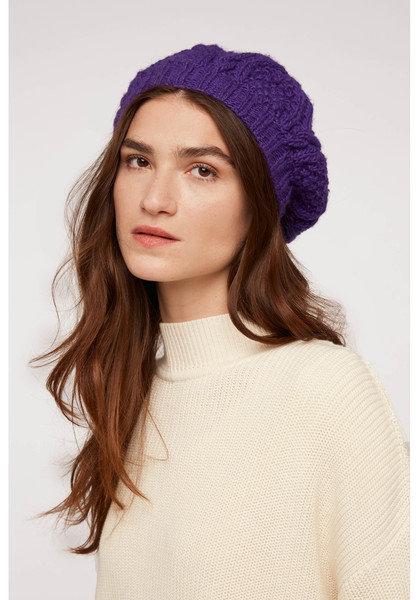 Handgestrickte Mütze CABLE BERET aus 100%Wolle