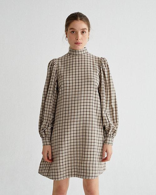 Kleid SMALL CHECKS FLORA DRESS aus reiner Bio-Baumwolle