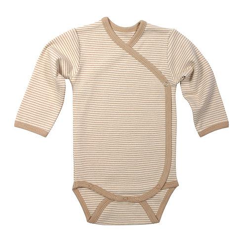 Langarm-Wickelbody HAZELNUT aus ungefärbter Bio-Baumwolle
