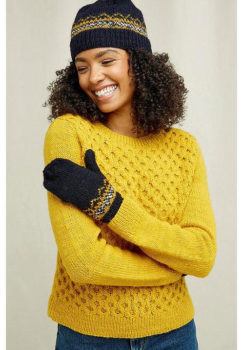 Handgestrickte Handschuhe FAIRISLE MITTENS aus 100%Wolle