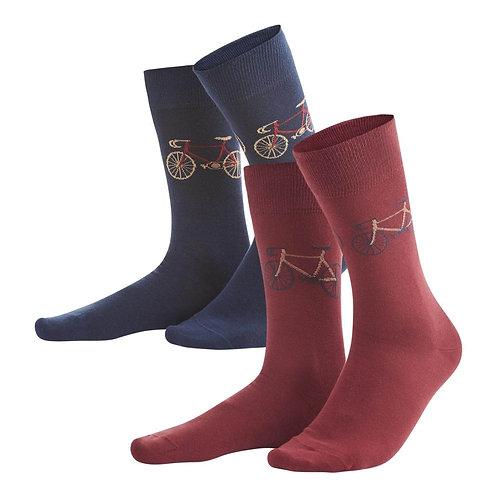Socken FALK NAVY ROSSO aus Bio-Baumwollmix