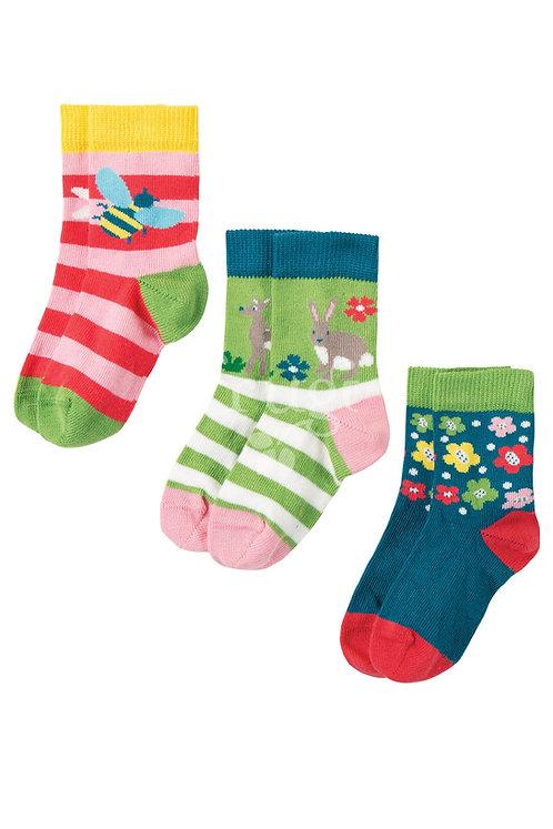 Socken 3er-Pack DEER aus Bio-Baumwollmix