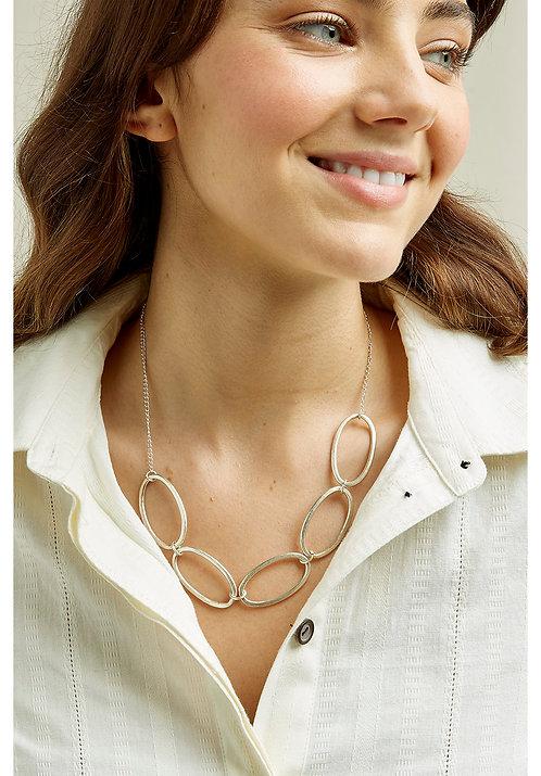 Halskette LINKED OVALS aus versilbertem Kupfer
