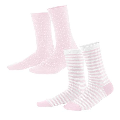 Damensocken rosa 2er-Pack aus Bio-Baumwollmix