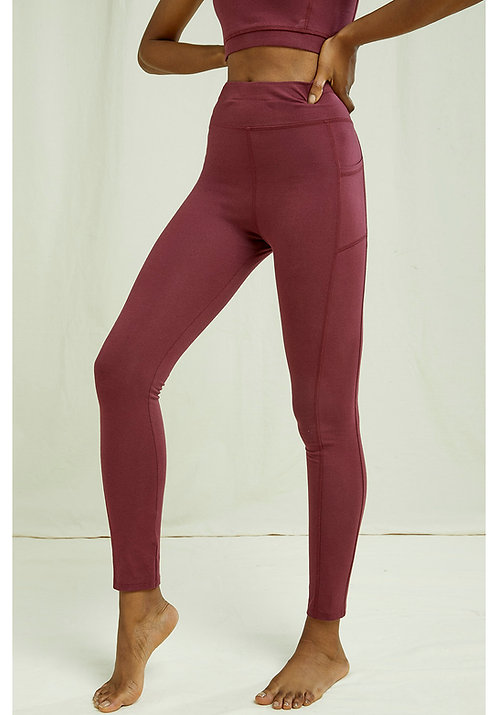 Yoga Pocket-Leggings BURGUNDY aus Bio-Baumwollmix