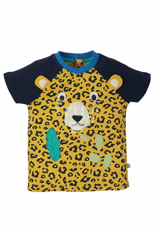 T-Shirt HAPPY RAGLAN LEOPARD aus reiner Bio-Baumwolle