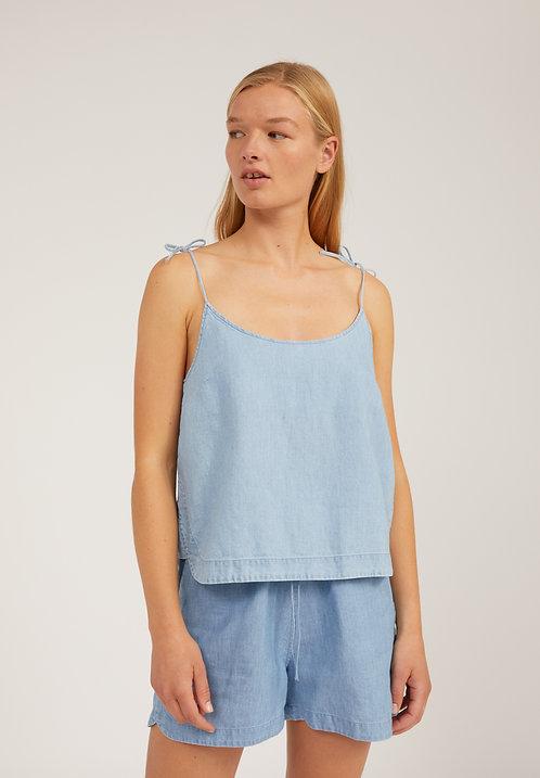 Bluse NITYAA FOGGY BLUE aus Bio-Baumwolle, TENCEL und Leinen