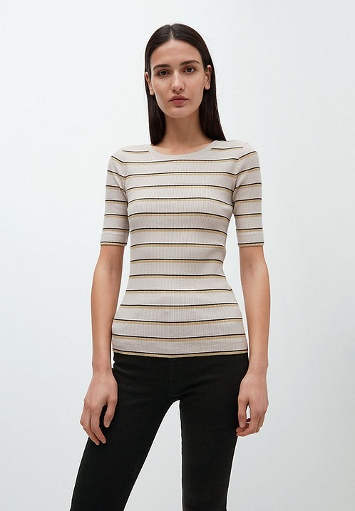 T-Shirt ELSAA RIB STRIPE aus Bio-Baumwollmix