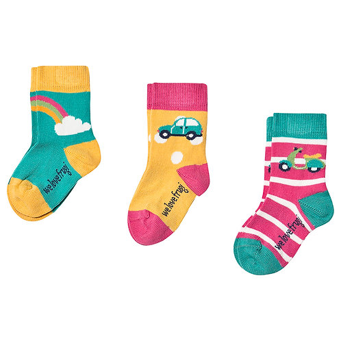 Socken 3er-Pack RAINBOW aus Bio-Baumwollmix