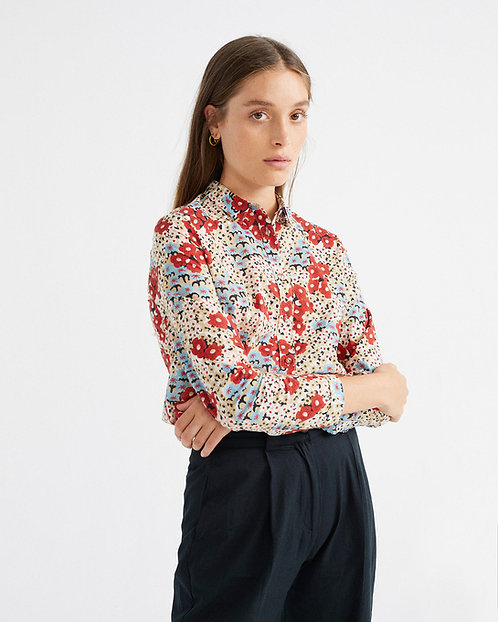 Bluse SMALL FLOWERS IRIS aus reiner Bio-Baumwolle