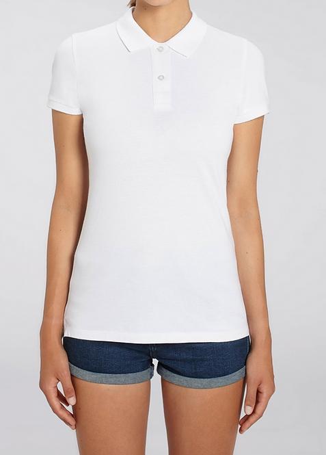Damen-Poloshirt weiß aus Bio-Baumwollmix