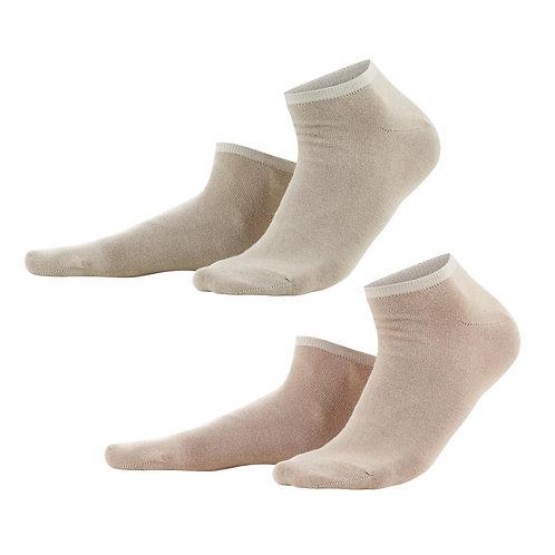 Sneaker-Socken 2er-Pack natural/taupe aus Bio-Baumwollmix