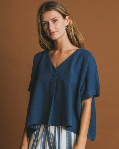 Bluse KAFUE BLUE HEMP aus Hanf, Bio-Baumwolle und TENCEL
