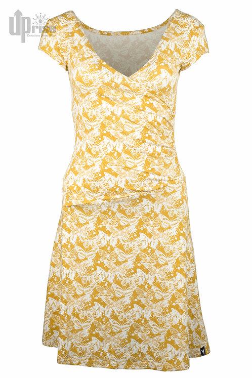 Kleid PARTY DRESS OCHRE aus Hanf und Bio-Baumwolle