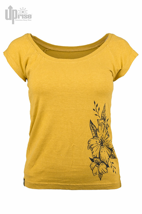 T-Shirt WOMEN TEE OCHRE aus Hanf und Bio-Baumwolle