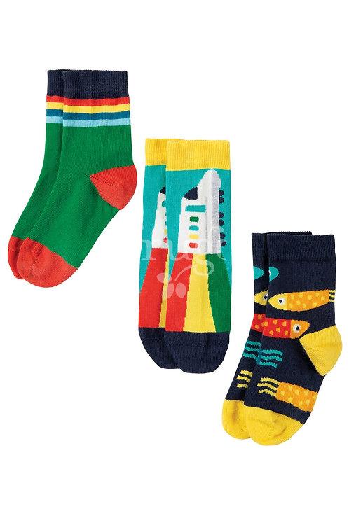 Socken 3er-Pack ROCK MY SOCKS TRAIN aus Bio-Baumwollmix