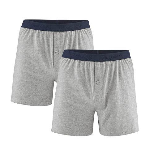 Boxershorts 2er-Pack ETHAN STONE GREY aus reiner Bio-Baumwolle