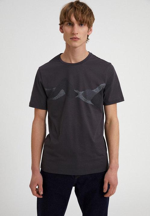 T-Shirt JAAMES DOT MOUNTAINS ACID BLACK aus reiner Bio-Baumwolle