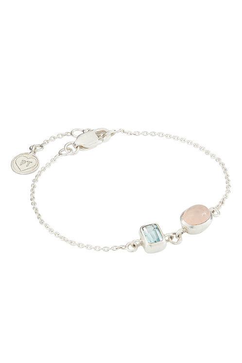 Armband aus Silber, Rosenquarz und blauem Topaz