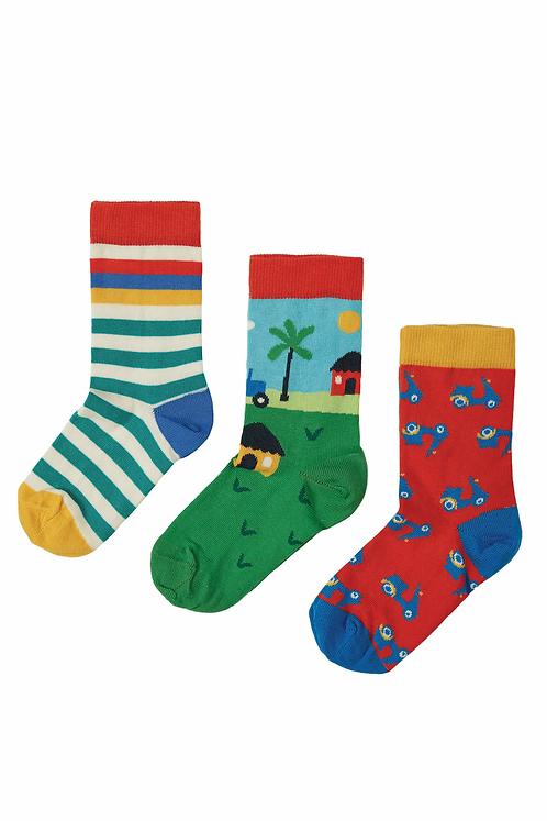Socken 3er-Pack ROCK MY SOCKS TRACTOR aus Bio-Baumwollmix